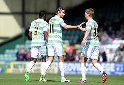 Yeovil Town's Stephen Kingsley and Yeovil Town's Sam Foley celebrates his sides goal scored by Haydn Hollis of Notts County- Photo mandatory by-line: Harry Trump/JMP - Mobile: 07966 386802 - 11/04/15 - SPORT - FOOTBALL - Sky Bet League One - Yeovil Town v Notts County - Huish Park, Yeovil, England.