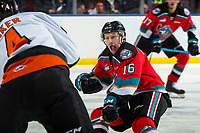 KELOWNA, BC - NOVEMBER 8:  Michael Farren #16 of the Kelowna Rockets skates in to block a pass against the Medicine Hat Tigers at Prospera Place on November 8, 2019 in Kelowna, Canada. (Photo by Marissa Baecker/Shoot the Breeze)