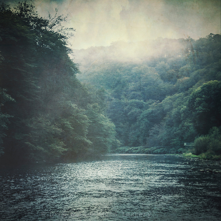 River Wupper near Solingen Müngsten / Germany on a fall morning  - texturized photograph