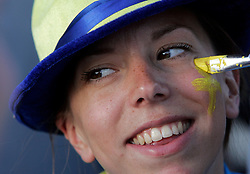 Fan of Sweden painted before the UEFA EURO 2008 Group D soccer match between Sweden and Russia at Stadion Tivoli NEU, on June 18,2008, in Innsbruck, Austria. Russia won 2:0. (Photo by Vid Ponikvar / Sportal Images)