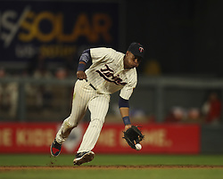 July 5, 2017 - Minneapolis, MN, USA - The Los Angeles Angels' Andrelton Simmons reaches on a grounder to Minnesota Twins shortstop Jorge Polanco in the ninth inning on Wednesday, July 5, 2017, at Target Field in Minneapolis. The Angels won, 2-1. (Credit Image: © Jeff Wheeler/TNS via ZUMA Wire)