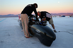 Guy Martin is strapped into the Triumph Infor Rocket Streamliner on track at the Bonneville speedway as he prepares for a test run before challenging for the world land speed record in Utah, USA.