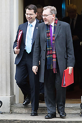 Downing Street, London, November 15th 2016.  Northern Ireland Secretary James Brokenshire (left) and Scotland Secretary David Mundell leaves Downing Street following the weekly cabinet meeting.