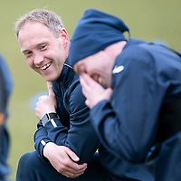 St Johnstone Training…06.04.18   McDiarmid Park, Perth<br />Steven Anderson and Steven MacLean pictured having a laugh during training this morning ahead of tomorrow's game against Motherwell<br />Picture by Graeme Hart.<br />Copyright Perthshire Picture Agency<br />Tel: 01738 623350  Mobile: 07990 594431