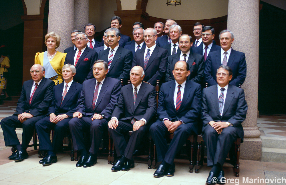 The last official portrait session of the last all-white Apartheid cabinet at the Union Buildings, Pretoria, 1993.