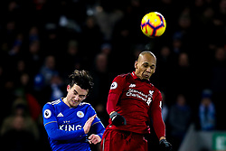 Fabinho of Liverpool beats Ben Chilwell of Leicester City to a header - Mandatory by-line: Robbie Stephenson/JMP - 30/01/2019 - FOOTBALL - Anfield - Liverpool, England - Liverpool v Leicester City - Premier League