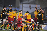 Twickenham, GREAT BRITAIN, Dragons, Paul ISAACS, clears the ball, from the back of the scrum, during the second half of the EDF Energy Cup rugby match,  London Wasps vs Newport Gwent Dragons, at Adam Stadium, on 02.11.2008 [Photo, Peter Spurrier/Intersport-images]