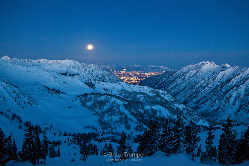 Sunrise and moonset looking down Little Cottonwood Canyon, Utah