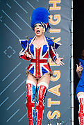 West End Live 2018 <br /> Trafalgar Square, London, Great Britain <br /> 16th June 2018 <br /> <br /> Excerpts from West End musicals perform live on stage in Trafalgar Square, London <br /> <br /> <br /> Kinky Boots <br /> <br /> Photograph by Elliott Franks
