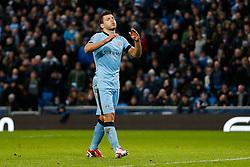 Sergio Aguero of Manchester City looks frustrated - Photo mandatory by-line: Rogan Thomson/JMP - 07966 386802 - 18/01/2015 - SPORT - FOOTBALL - Manchester, England - Etihad Stadium - Manchester City v Arsenal - Barclays Premier League.