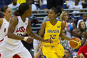 Team Brazil forward Damiris Dantas (12) looks to pass during the 2012 USA Women's Basketball Team versus Brazil at Verizon Center in Washington, DC.  USA won 99-67.  July 16, 2012  (Photo by Mark W. Sutton)