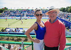 LIVERPOOL, ENGLAND - Saturday, June 21, 2014: Mr Liverpool Tennis... Former BBC Radio Merseyside presenter Alan Jackson and his daughter Amy during Day Three of the Liverpool Hope University International Tennis Tournament at Liverpool Cricket Club. (Pic by David Rawcliffe/Propaganda)