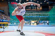 Tomasz Majewski of Poland competes in men's shot put final during the IAAF Athletics World Indoor Championships 2014 at Ergo Arena Hall in Sopot, Poland.<br /> <br /> Poland, Sopot, March 7, 2014.<br /> <br /> Picture also available in RAW (NEF) or TIFF format on special request.<br /> <br /> For editorial use only. Any commercial or promotional use requires permission.<br /> <br /> Mandatory credit:<br /> Photo by © Adam Nurkiewicz / Mediasport