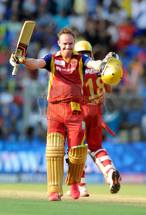 AB De Villiers of Royal Challengers Bangalore celebrates after scoring a century during match 46 of the Pepsi IPL 2015 (Indian Premier League) between The Mumbai Indians and The Royal Challengers Bangalore held at the Wankhede Stadium in Mumbai, India on the 10th May 2015.<br /> <br /> Photo by:  Pal Pillai / SPORTZPICS / IPL