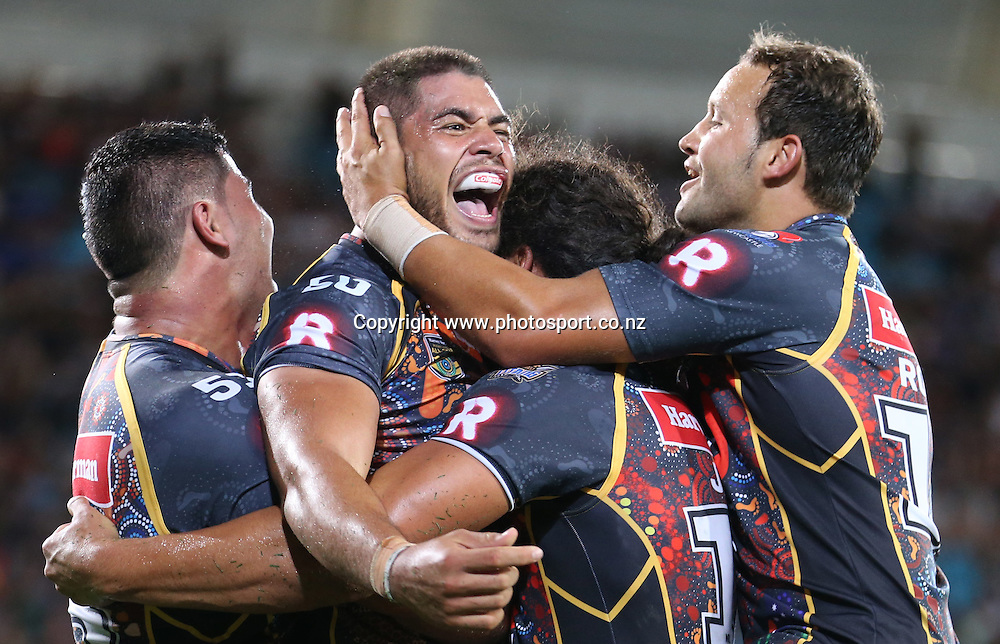 Rugby League - All Stars v Indigenous , Gold Coast 13 February 2015<br /> Indigenous All Stars' Chris Grevmuhl scores a try<br /> Photograph :  Jason O'Brien