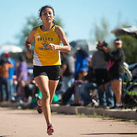 Valley High School senior Nizhoni James takes second  place with a time of 23:42 in the varsity girls 5000 meter run Saturday morning at the Heartbreak Classic cross county meet in Navajo.