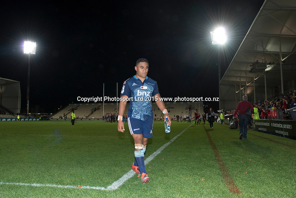 Francis Saili of the Blues leaves the pitch after the Investec Super Rugby match between the Crusaders and Blues at AMI Stadium in Christchurch, New Zealand. 25 April 2015. Photo: Kai Schwoerer / www.photosport.co.nz