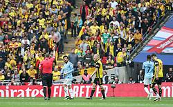 David Silva of Manchester City is shown a yellow card - Mandatory by-line: Arron Gent/JMP - 18/05/2019 - FOOTBALL - Wembley Stadium - London, England - Manchester City v Watford - Emirates FA Cup Final
