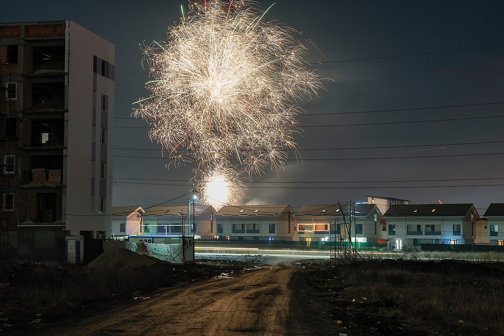 New Year's fireworks at a new residential complex in Militari on the periphery of Bucharest.