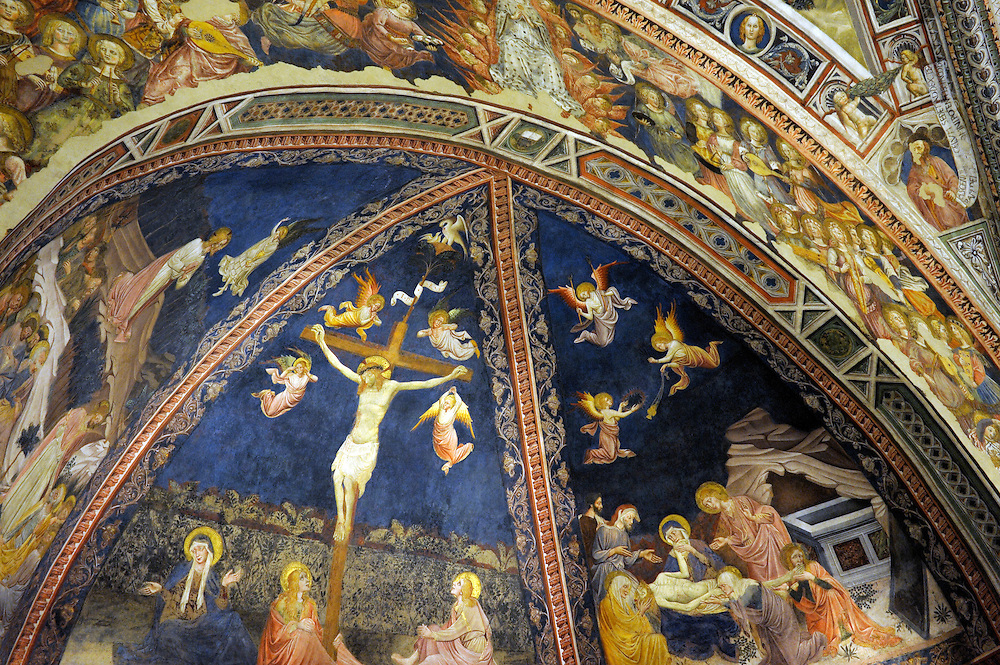 The Baptistry, Sienna Cathedral. Battistero Siena Duomo. Tuscany, Italy. Ceiling frescoes by Vecchietta. Crucifixion detail