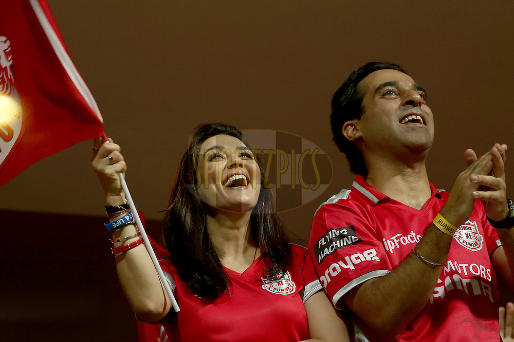 Preity Zinta celebrates her team's victory during match 31 of the Pepsi Indian Premier League Season 2014 between the Royal Challengers Bangalore and the Kings XI Punjab held at the M. Chinnaswamy Stadium, Bangalore, India on the 9th May  2014. Photo by Jacques Rossouw  / IPL / SPORTZPICS<br /> <br /> <br /> <br /> Image use subject to terms and conditions which can be found here:  http://sportzpics.photoshelter.com/gallery/Pepsi-IPL-Image-terms-and-conditions/G00004VW1IVJ.gB0/C0000TScjhBM6ikg