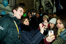 Nik Henigman with fans during reception of Slovenian National Handball Men team after they placed third at IHF World Handball Championship France 2017, on January 30, 2017 in Mestni trg, Ljubljana centre, Slovenia. Photo by Vid Ponikvar / Sportida