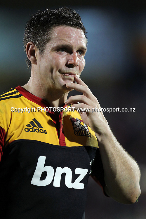 Chiefs' Mike Delany dejected. Super 15 rugby union match, Chiefs v Crusaders at Baypark Stadium, Mt Maunganui, New Zealand. Friday 15th April 2011. Photo: Anthony Au-Yeung / photosport.co.nz