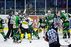 29.01.2013, Hala Tivoli, Ljubljana, SLO, EBEL, HDD Olimpija Ljubljana vs Dornbirner Eishockey Club, 4. Qualifikationsrunde, im Bild Fighting between Ziga Grahut (HDD Olimpija, #11) and Nicolas Petrik (Dornbirner Eishockey Club, #12) // during the Erste Bank Icehockey League 4th Qualification Round match between HDD Telemach Olimpija Ljubljana and Dornbirner Eishockey Club at the Hala Tivoli, Ljubljana, Slovenia on 2013/01/29. EXPA Pictures © 2013, PhotoCredit: EXPA/ Sportida/ Matic Klansek Velej..***** ATTENTION - OUT OF SLO *****