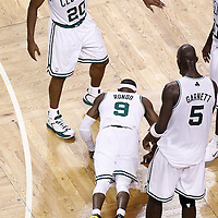 07 June 2012: Boston Celtics point guard Rajon Rondo (9) is seen doing pushups during first half of Game 6 of the Eastern Conference Finals playoff series, Heat at Celtics at the TD Banknorth Garden, Boston, Massachusetts, USA.