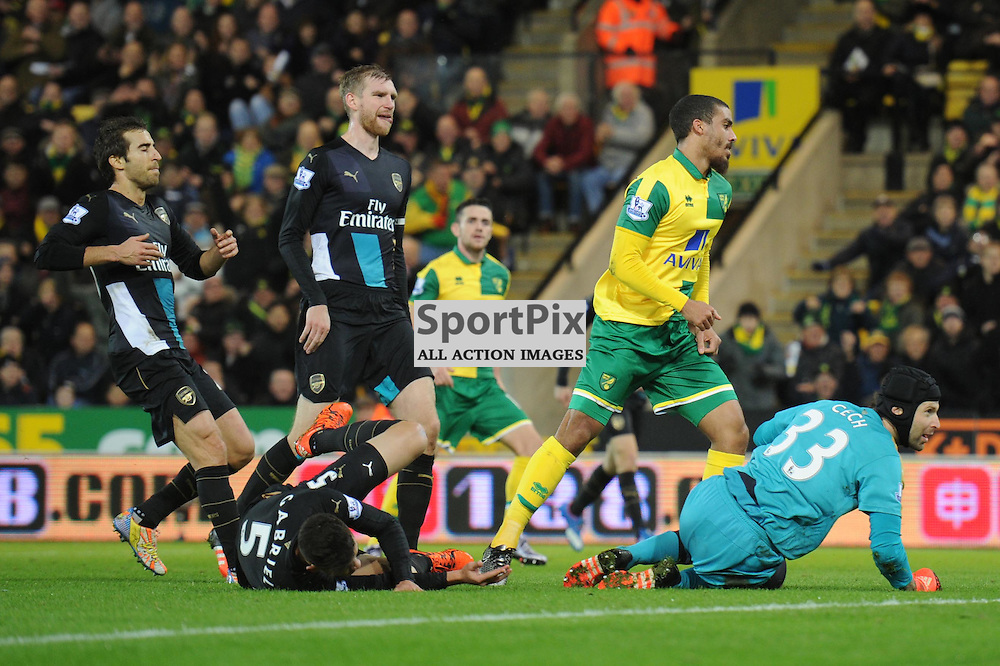 Norwichs Lewis Grabban equalises for Norwich during the Norwich v Arsenal game in the Barclays Premier League on Sunday 29th November 2015 at Carrow Road