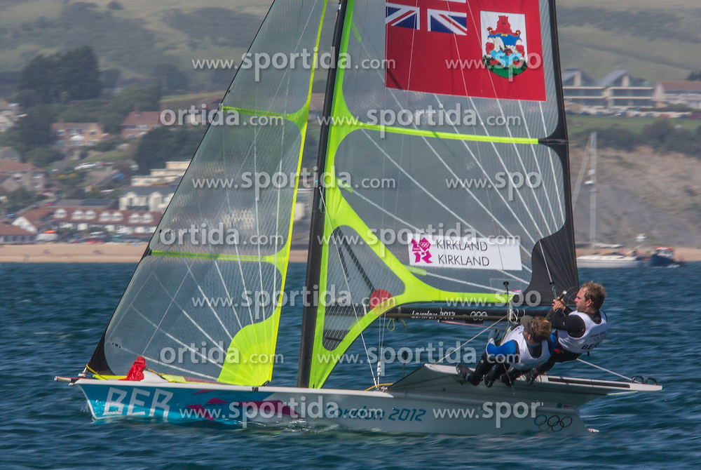03.08.2012, Bucht von Weymouth, GBR, Olympia 2012, Segeln, im Bild Kirkland  Jesse, Kirkland Alexander, (BER, 49er) // during Sailing, at the 2012 Summer Olympics at Bay of Weymouth, United Kingdom on 2012/08/03. EXPA Pictures © 2012, PhotoCredit: EXPA/ Daniel Forster ***** ATTENTION for AUT, CRO, GER, FIN, NOR, NED, POL, SLO and SWE ONLY!