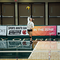 4th year middle blocker Kathleen Ens (8) of the Regina Cougars in action during Women's Volleyball home opener on October 20 at Centre for Kinesiology, Health and Sport. Credit: Casey Marshall/Arthur Images