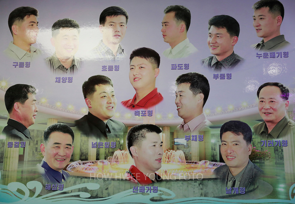 A picture made available on 17 April 2017 of a board showing different hair styles for North Korean men in a hair salon at Munsu Water Park in Pyongyang, North Korea, 16 April 2017. A North Korean missile exploded within seconds of its launch on the east coast on 16 April, South Korean and US officials say as tensions rise in the region over nuclear issues.