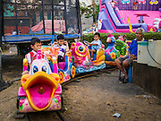 06 FEBRUARY 2014 - HAT YAI, SONGKHLA, THAILAND: Children ride a toy train at the Chinese New Year Festival in Hat Yai. Hat Yai was originally settled by Chinese immigrants and still has a large ethnic Chinese population. Chinese holidays, especially Lunar New Year (Tet) and the Vegetarian Festival are important citywide holidays.     PHOTO BY JACK KURTZ
