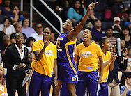 Sep 21, 2013; Phoenix, AZ, USA; Los Angeles Sparks center Jantel Lavender (42) celebrates with teammates on the bench during the second half of the game against the Phoenix Mercury in Game 2 of a WNBA basketball Western Conference semifinal series at US Airways Center. The Sparks defeated the Mercury 82-73. Mandatory Credit: Jennifer Stewart-USA TODAY Sports<br /> <br /> Sep 21, 2013; Phoenix, AZ, USA; Phoenix Mercury XXX against the Los Angeles Sparks in the first half during Game 2 of a WNBA basketball Western Conference semifinal series at US Airways Center. The Sparks defeated the Mercury 82-73. Mandatory Credit: Jennifer Stewart-USA TODAY Sports