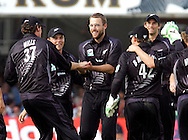 Photo © ANDREW FOSKER / SECONDS LEFT IMAGES 2008  - A smiling Daniel Vettori (centre) is congratulated by the New Zealand team after taking Tim Ambrose 's wicket for 2 caught by sub Marshall  England v New Zealand Black Caps - 5th ODI - Lord's Cricket Ground - 28/06/08 - London -  UK - All rights reserved