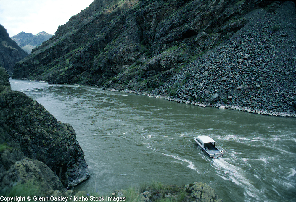 Jet boat in Hells Canyon, Snake River. Idaho.