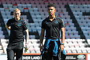 Jordan Pickford (1) of Everton and Mason Holgate (2) of Everton on arrival at the Vitality Stadium ahead of the Premier League match between Bournemouth and Everton at the Vitality Stadium, Bournemouth, England on 15 September 2019.