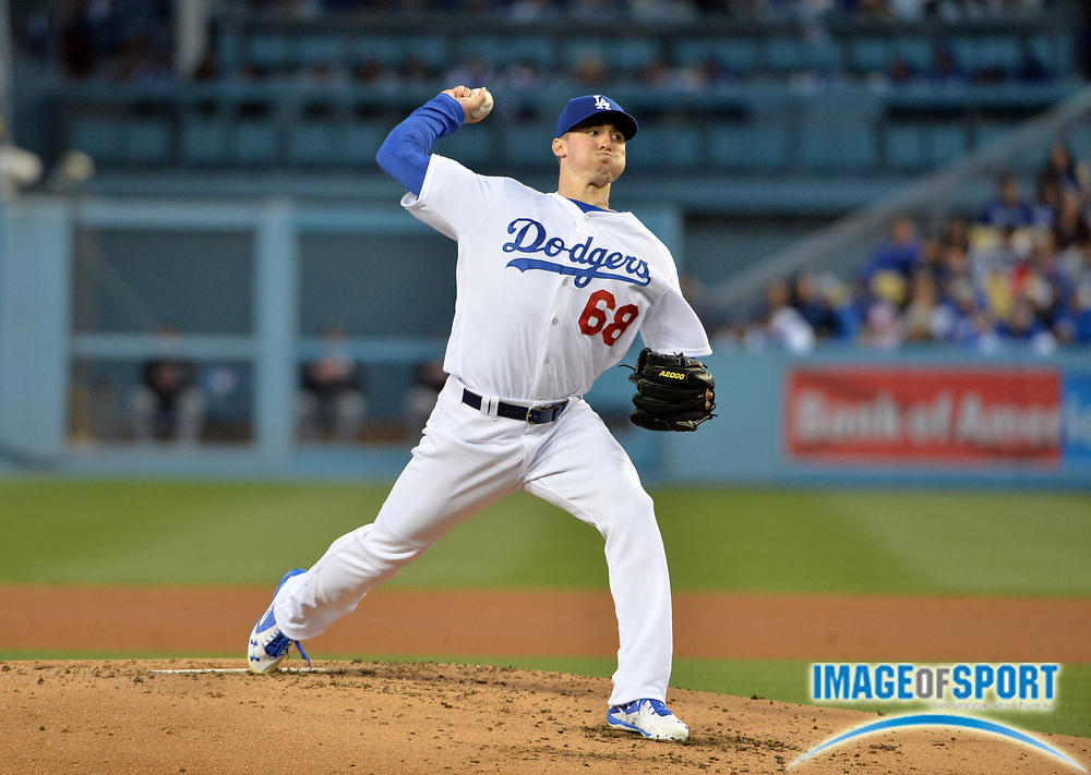Apr 25, 2016; Los Angeles, CA, USA; Los Angeles Dodgers starting pitcher Ross Stripling (68) delivers a pitch against the Miami Marlins during a MLB game at Dodger Stadium.
