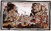 Hernando Cortes (Cortez - 1485-1547) Spanish conquistador attacking natives in Mexico
