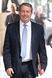© Licensed to London News Pictures. 23/06/2019. London, UK. Secretary of State for International Trade and MP for North Somerset Liam Fox arrives at the BBC. He will appear on the Andrew Marr Show.  Photo credit: George Cracknell Wright/LNP