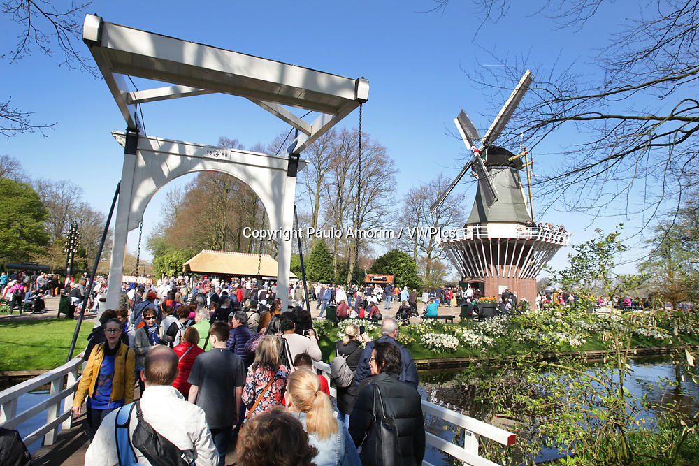 Daily Life - Large group of tourists visit the Keukenhof Park on April 4, 2017 in Lisse,Netherlands. Keukenhof known as the Garden of Europe, a spring park with approximately seven million flower bulbs.
