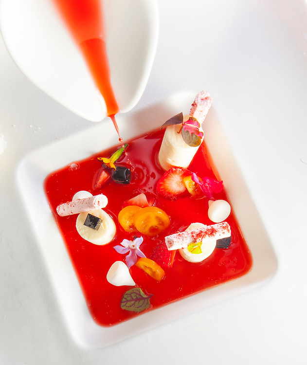 White chocolate mousse, toybox tomato, and raspberry maringue with lemon rose sorbet at Shikany in Miami