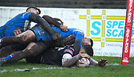 Nick Rawsthorne of Toronto Wolfpack scores the 2nd try against Barrow Raiders during the Betfred Championship match at Craven Park, Barrow-in-Furness<br /> Picture by Stephen Gaunt/Focus Images Ltd +447904 833202<br /> 11/02/2018