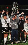 28.10.2000, Valkeakoski, Finland. Veikkausliiga / Finnish National Championship, FC Haka v Kotkan TP. Coach Keith Armstrong holds aloft the championship trophy..©JUHA TAMMINEN