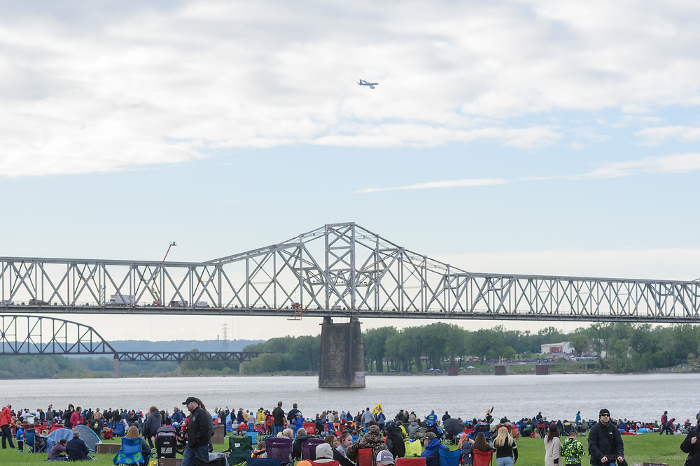 The rain stops for early spectators at the Kentucky Derby Festival's 2017 Thunder Over Louisville air show Saturday, April 22, 2017, on the Great Lawn in downtown Louisville, Ky. (Photo by Brian Bohannon)