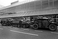 Tanks and army troops deployed at Heathrow airport in the 1991 at start of Gulf War