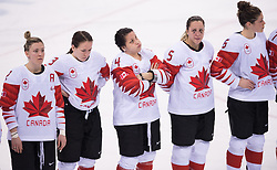 February 22, 2018 - Pyeongchang, South Korea - Canadian hockey players, left to right, MEGHAN AGOSTA, JOCELYNE LAROCQUE, BRIGETTE LACQUETT, LAKURIANE ROUGEAU and REBECCA JOHNSTON wait for the medal ceremony to begin following their 3-2 overtime loss to the United States in the Women's Gold Medal Ice Hockey game Thursday, February 22, 2018 at Gangneung Hockey Centre at the Pyeongchang Winter Olympic Games. USA took the gold. Photo by Mark Reis, ZUMA Press/The Gazette (Credit Image: © Mark Reis via ZUMA Wire)