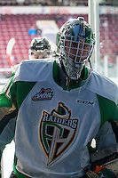 KELOWNA, CANADA - DECEMBER 6: Nick McBride #40 of Prince Albert Raiders exits the ice after warm up against the Kelowna Rockets on December 6, 2014 at Prospera Place in Kelowna, British Columbia, Canada.  (Photo by Marissa Baecker/Shoot the Breeze)  *** Local Caption *** Nick McBride;