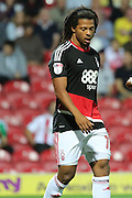 Nottingham Forest striker, on loan from Benfica, Hildeberto Pereira (17) looking down during the EFL Sky Bet Championship match between Brentford and Nottingham Forest at Griffin Park, London, England on 16 August 2016. Photo by Matthew Redman.